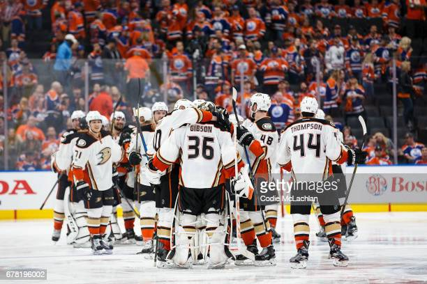 The Anaheim Ducks celebrate their victory against the Edmonton Oilers in Game Four of the Western Conference Second Round during the 2017 NHL Stanley...