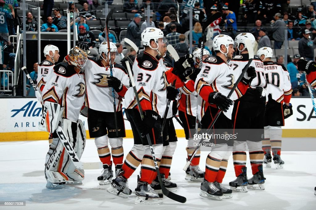 The Anaheim Ducks celebrate their win over the San Jose Sharks at SAP Center at San Jose on March 18, 2017 in San Jose, California. The Ducks defeated the Sharks 2-1.