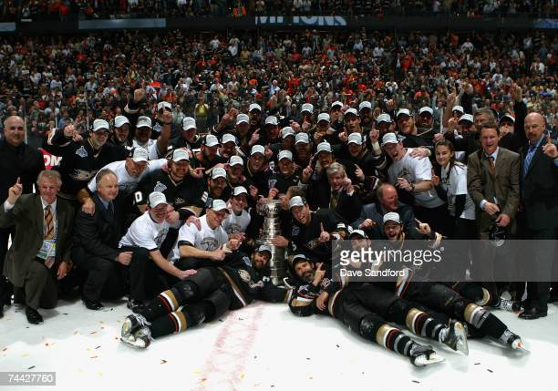 The Anaheim Ducks celebrate winning the Stanley Cup after defeating the Ottawa Senators in Game Five of the 2007 Stanley Cup finals on June 6 2007 at...