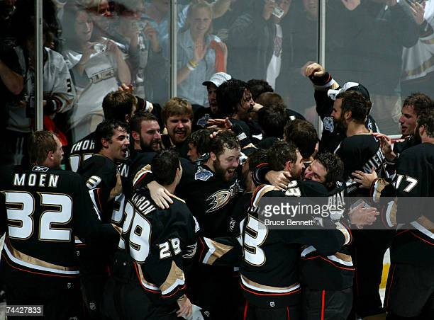 The Anaheim Ducks celebrates winning the 2007 Stanley Cup Finals 4 games to 1 over the Ottawa Senators during Game Five on June 6, 2007 at Honda...