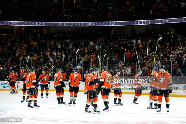 The Anaheim Ducks wave to the crowd in celebration of their 3-2 win over the Pittsburgh Penguins at Honda Center on February 28, 2020 in Anaheim,...
