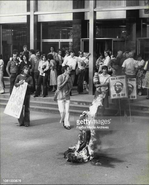 The Ananda Marga dummy burns in Chifley Square January 21 1979