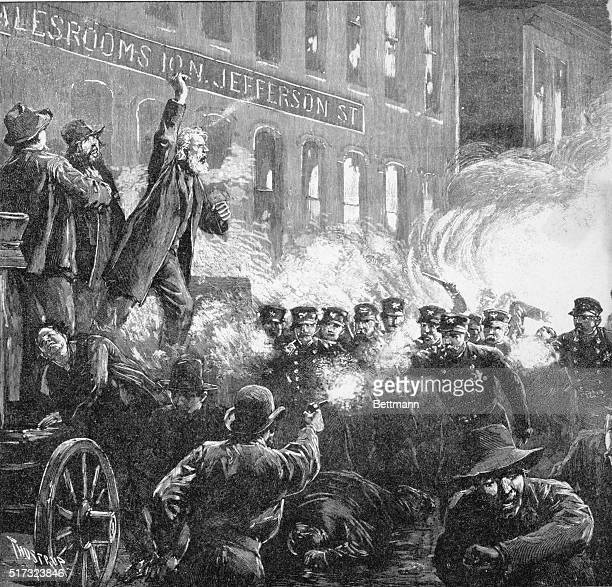 The Anarchist Riot in Chicago A dynamite bomb exploding among the police Wood engraving 1886 Drawn by T de Thulstrup after H Jeanneret