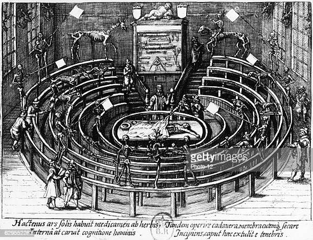 The anatomical theatre at Leiden University in the NetherlandsEngraving1612Paris Bibliotheque Nationale de France