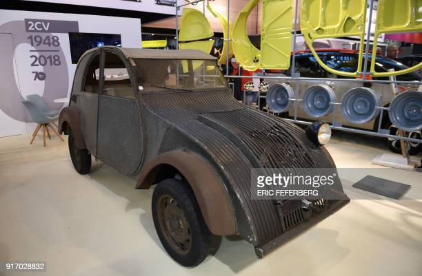 the ancestor of the Citroen 2CV is displayed at Retromobile an exhibition of vintage motor vehicles at Paris Expo in Porte de Versailles in Paris on...