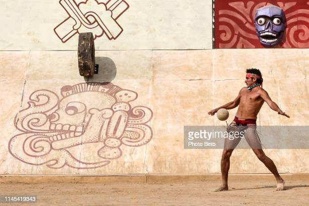 the ancestral ball game according to the tradition of the native peoples of mexico - ball stock pictures, royalty-free photos & images