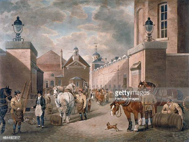The Anchor Brewery Mile End Road Stepney London c1820 View showing brewers barrels and horses and carts in the courtyard