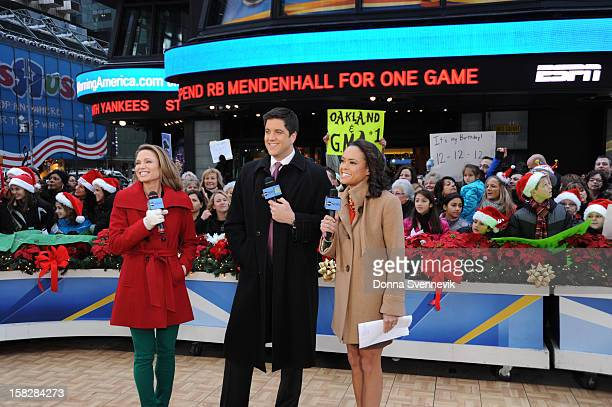 AMERICA The anchors report from Times Square on Good Morning America 12/12/12 airing on the Walt Disney Television via Getty Images Television...