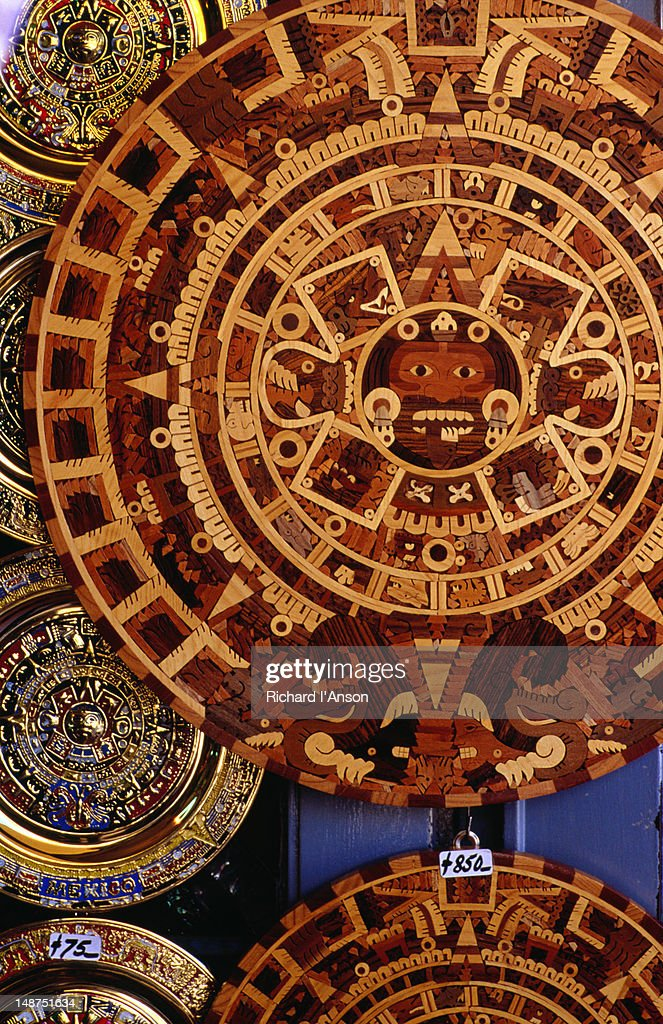 The Ancient Aztec Calendar On A Wooden Plate In Teotihucan Stock