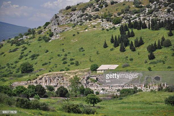 the ancient city ephesus efes - ephesus stock pictures, royalty-free photos & images