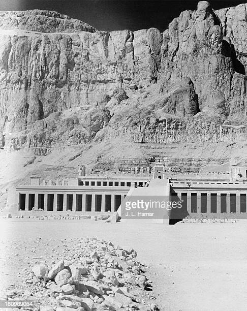 The ancient Egyptian mortuary temple of Queen Hatshepsut at Deir elBahari Egypt circa 1950 The temple is dedicated to the sun god AmonRa