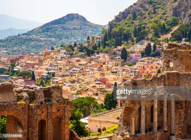 the ancient greek amphitheater - taormina stock pictures, royalty-free photos & images