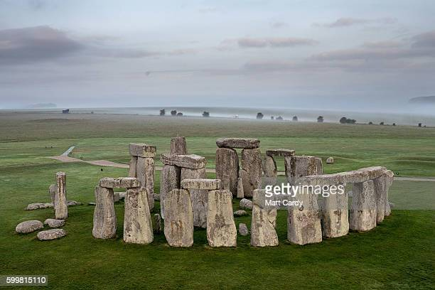 The ancient neolithic monument of Stonehenge near Amesbury is viewed from a hot air balloon on September 7, 2016 in Wiltshire, England. To mark the...