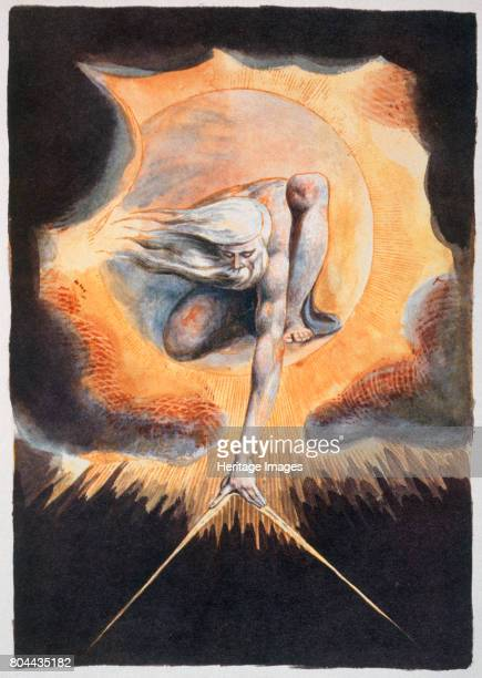 The Ancient of Days', 1793. From Europe a Prophecy by William Blake . Urizen measuring out the material world; an allegory of the French Revolution,...
