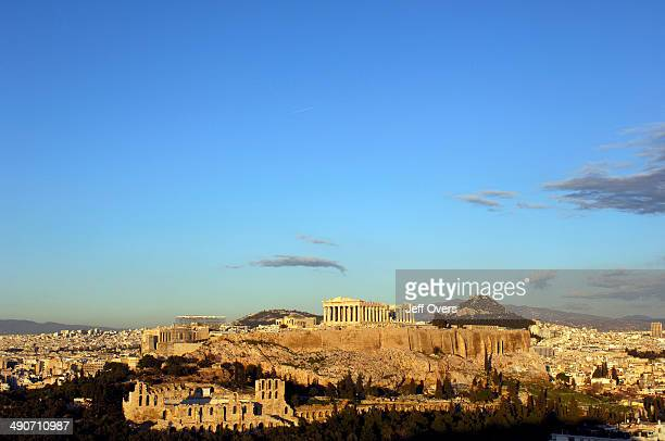 The ancient Parthenon temple is seen on the Acropolis Hill in Athens