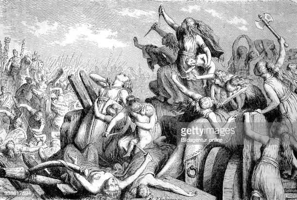 the ancient people ot the Cimbri and Teutones defend their Wagon fort against the roman soldiers the story of the ancient Rome roman Empire Italy
