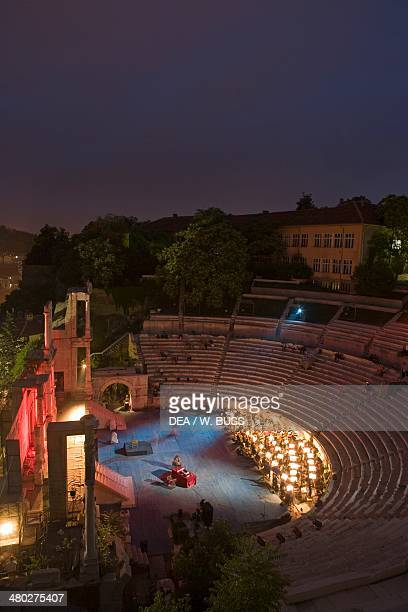 The ancient Plovdiv Roman theatre Plovdiv Bulgaria Night view during a performance