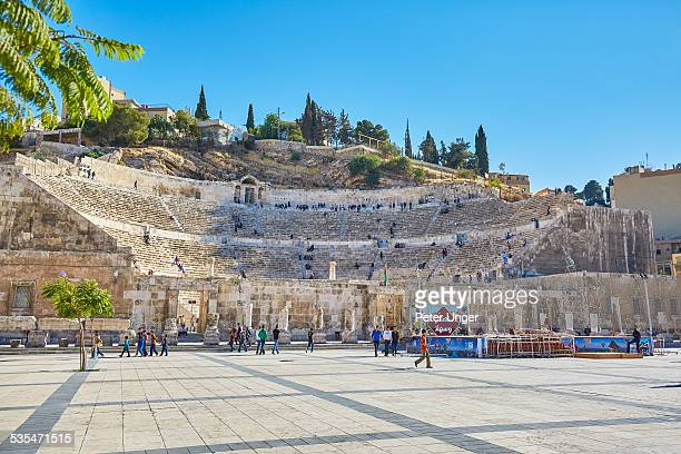 the ancient roman amphitheatre of amman - capital cities stock pictures, royalty-free photos & images