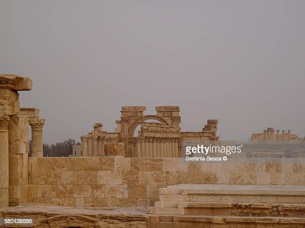 the ancient ruins of palmyra - cité de l'architecture et du patrimoine photos et images de collection