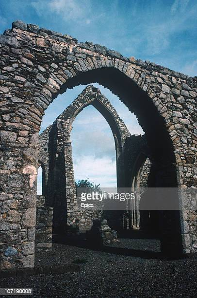 The ancient ruins of the monastery at Castledermot County Kildare circa 1990 The ruins comprise of a 14th century Franciscan Abbey a...