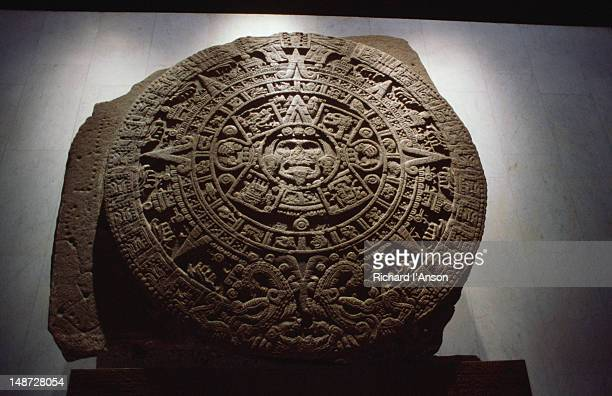 The ancient stone Aztec sun 'calendar' in the Museo Nacional de Antropologia.