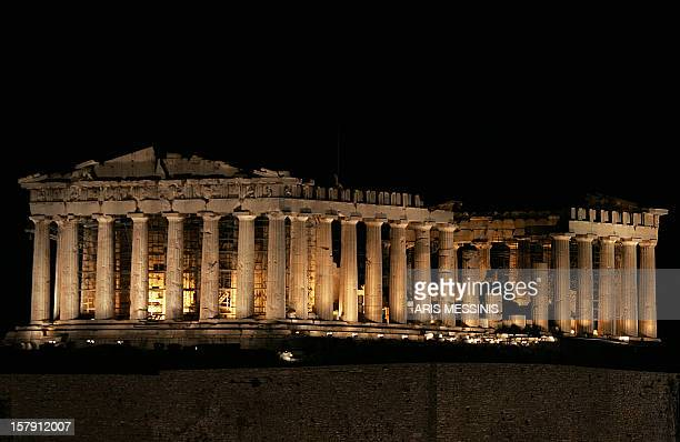 The ancient temple of Parthenon is seen after it's new illumination in Athens 19 July 2004 Lots of archeological sites illuminated by French lighting...