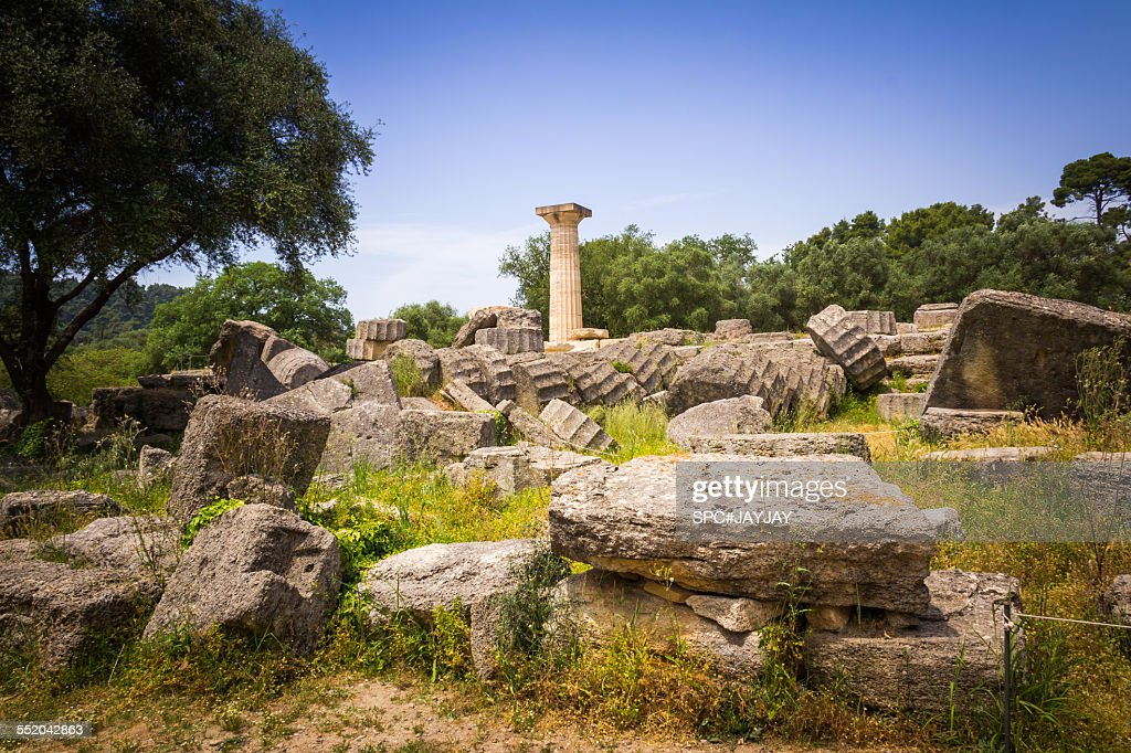 The Ancient Temple of Zeus at Olympia : Stock Photo