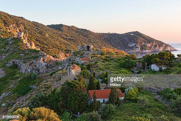 the ancient village of kastro - rhodes dodecanese islands stock photos and pictures