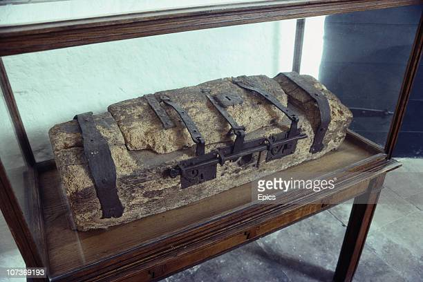 The ancient wooden chest made from ash kept alms donated by pilgrims known as St Bueno's chest in St Bueno's church in the village of Clynnog Fawr on...