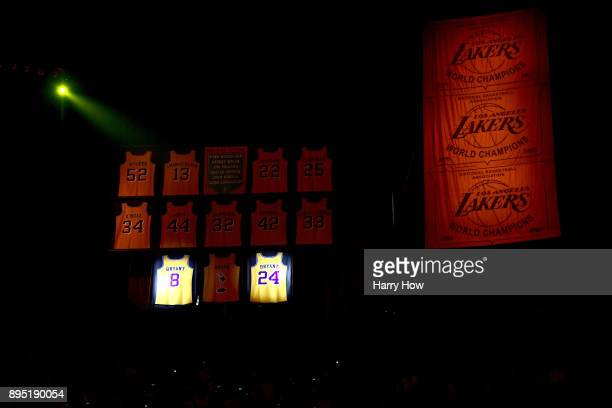 The and jerseys of Kobe Bryant of the Los Angeles Lakers are retired among the other Lakers legends at Staples Center on December 18, 2017 in Los...