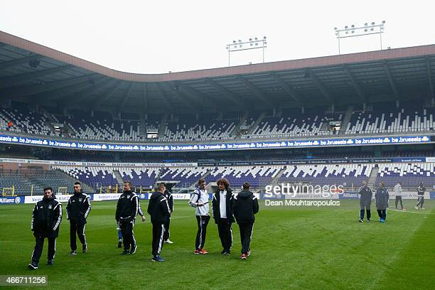 The Anderlecht players stand on the ground prior to the UEFA Youth League quarter final match between RSC Anderlecht and FC Porto at Constant Vanden...