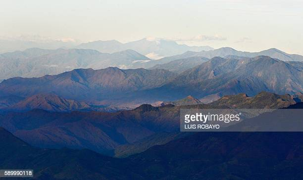 The Andes Mountains near the municipality of Popayan departament of Cauca Colombia on August 9 2016 / AFP / LUIS ROBAYO