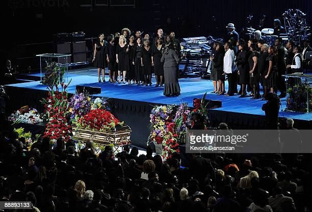 The Andrea Crouch Choir performs at the Michael Jackson public memorial service held at Staples Center on July 7 2009 in Los Angeles California...