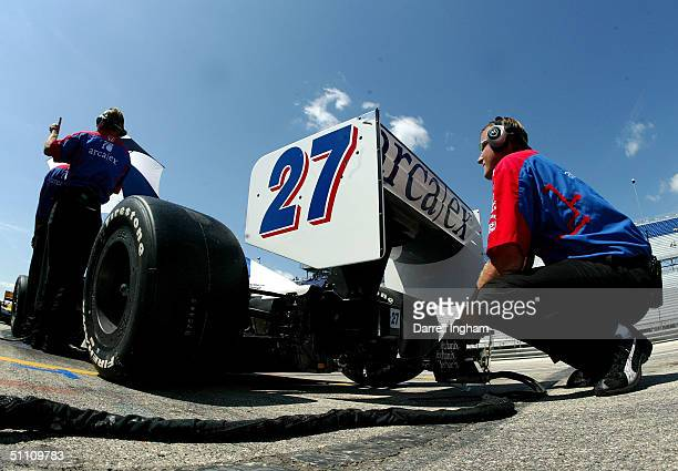 The Andretti Green Racing ArcaEx Honda Dallara of Dario Franchitti during practice for the Indy Racing League IndyCar Series Menards AJFoyt Indy 225...