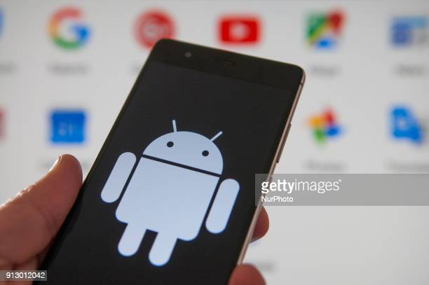 The Android logo is seen on a Huawei mobile device on February 1 2018