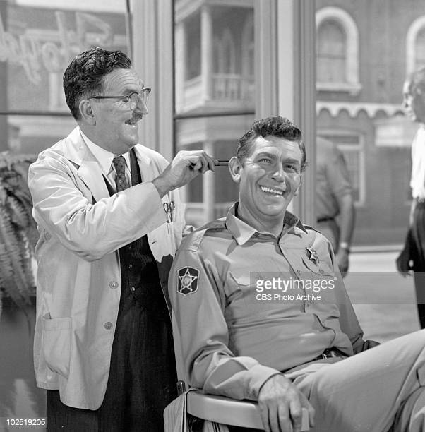 The Andy Griffith Show episode 'Opie's Job' Cast members Howard McNear as Floyd Lawson aka Floyd the Barber and Andy Griffith as Sheriff Andy Taylor...