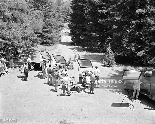 The Andy Griffith Show episode The New Housekeeper This is from season 1 episode 1 A production shot featuring Andy Griffith and Ron Howard being...