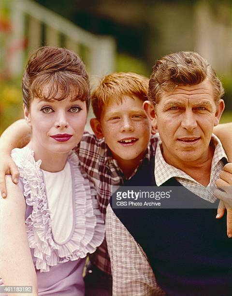 The Andy Griffith Show featuring Aneta Corsaut as Helen Crump Ron Howard as Opie Taylor and Andy Griffith as Sheriff Andy Taylor Image dated August 1...