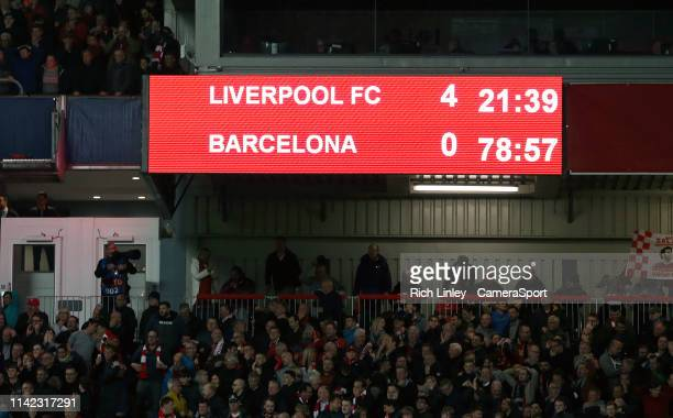 The Anfield scoreboard shows a 40 scoreline after Liverpool's Divock Origi scored his side's fourth goal during the UEFA Champions League Semi Final...