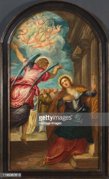 The Angel foretelling Saint Catherine of Alexandria of her martyrdom, 1570s. Private Collection. Artist Tintoretto, Jacopo .