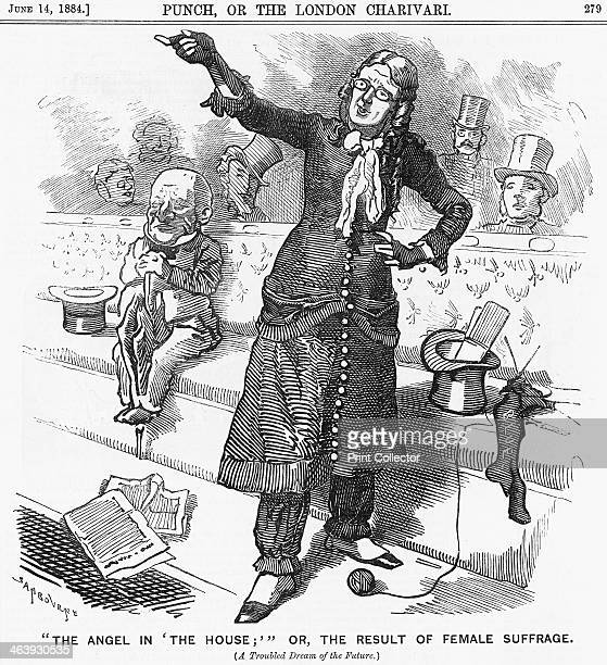 'The Angel in The House or the Result of Female Suffrage' 1884 A lady who has taken advantage of Female Suffrage is on her feet in a manly stance in...