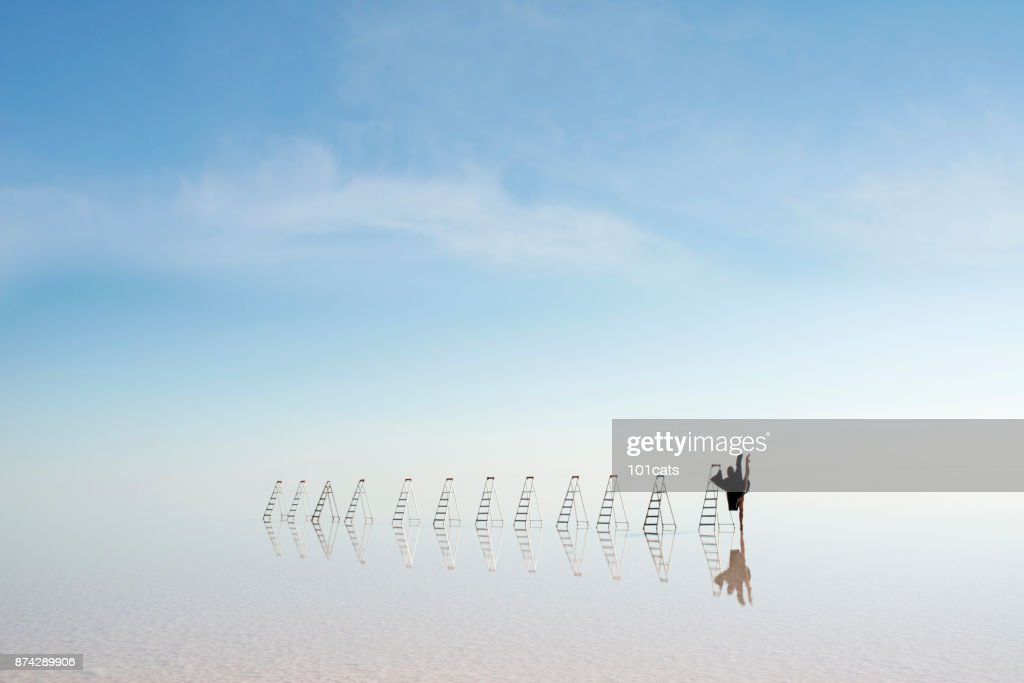 the angel of death is dancing on the lake in the evening : Foto de stock