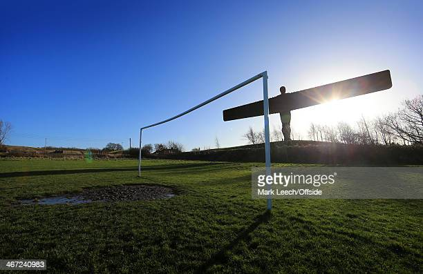The Angel of the North is seen in silhouette prior to the Barclays Premier League match between Newcastle United and Sunderland at St James' Park on...