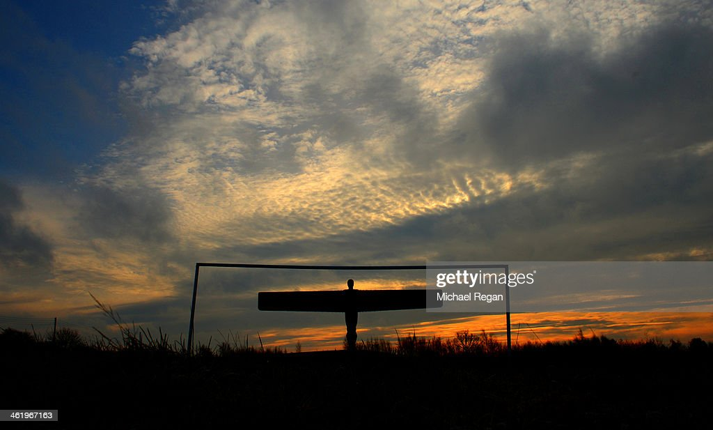 The Angel of The North is seen prior to the Barclays Premier League match between Newcastle United and Manchester City at St James' Park on January 12, 2014 in Newcastle upon Tyne, England.