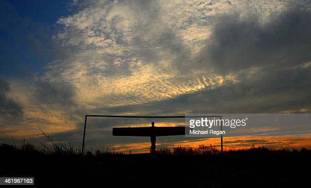 The Angel of The North is seen prior to the Barclays Premier League match between Newcastle United and Manchester City at St James' Park on January...