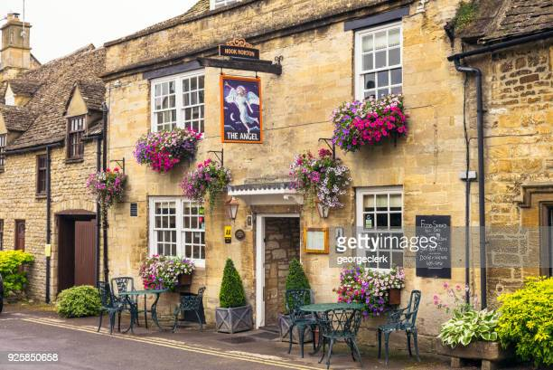 the angel pub in cotswold village of burford - buckinghamshire stock pictures, royalty-free photos & images