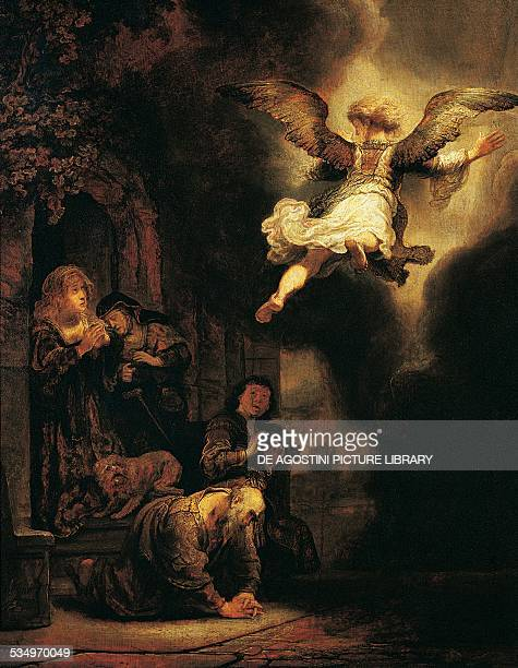 The Angel Raphael leaving Tobit and his family by Rembrandt oil on canvas 68x52 cm Paris Musée Du Louvre