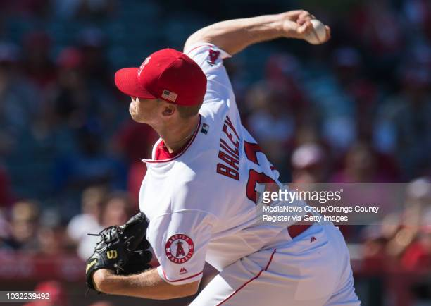 The Angels' Andrew Bailey pitches the ninth inning during the Angels' 32 victory over the Texas Rangers on Sunday Sept 11 2016 at Angel Stadium