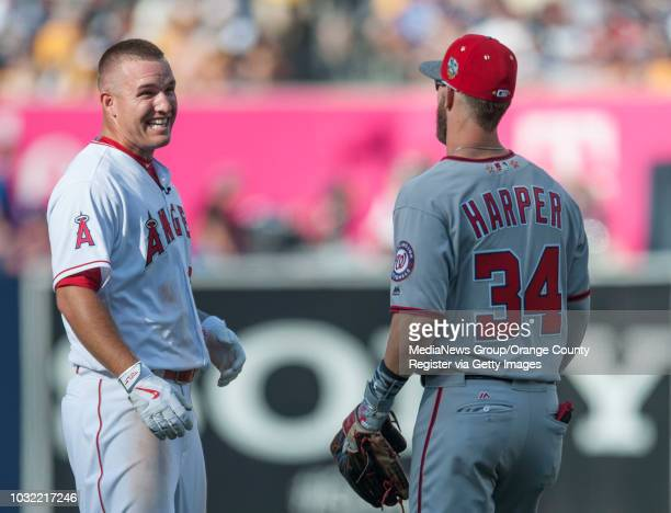 The Angels' Mike Trout jokes around with the Nationals' Bryce Harper during the 2016 MLB AllStar Game at Petco Park in San Diego on Tuesday INFO...
