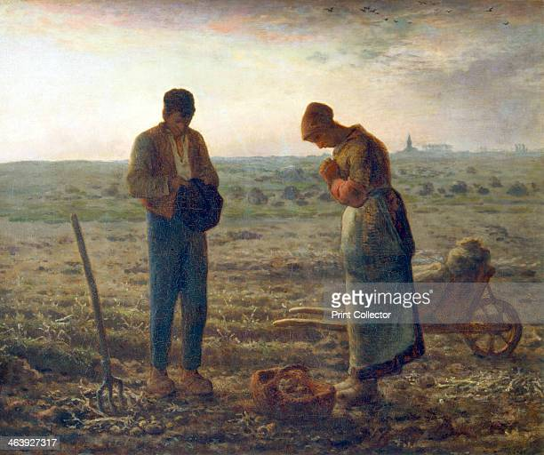 'The Angelus' 18571859 A man and woman working in a potato field pause for prayer when they hear the bell rung in the church in the right background